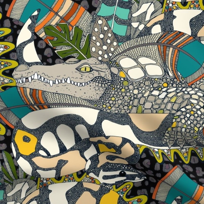 animalier pop maximalist crocdile snake feather fabric