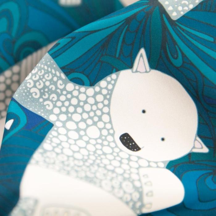 arctic polar bears blue fabric