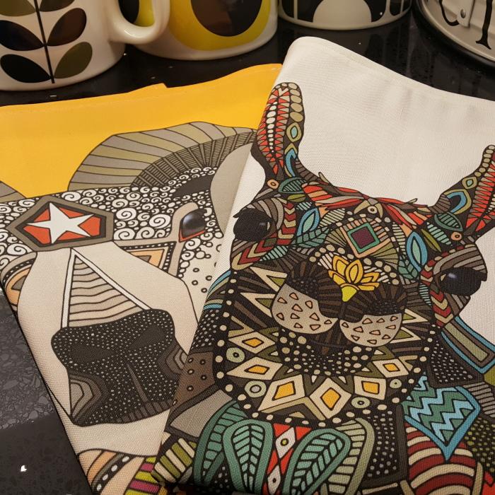 aries ram llama daisy love tea towels linen cotton canvas sharon turner spoonflower