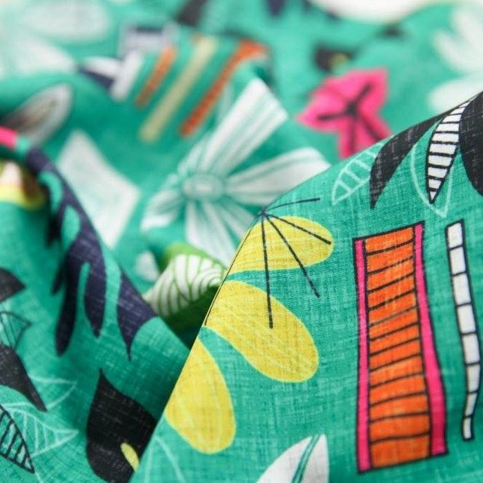beachy jade hawaiian retro fabric