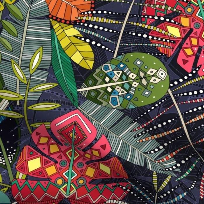 boho hojas midnight fabric