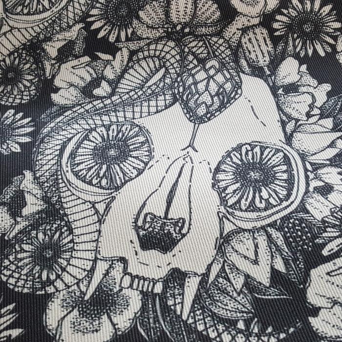 cat skull damask dogwood denim fabric