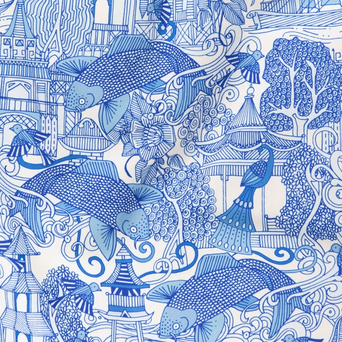 chinoiserie toile de jouy blue china fish peacock fabric