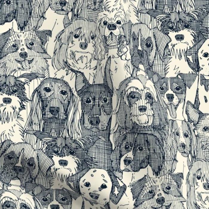 dogs aplenty indigo pearl fabric
