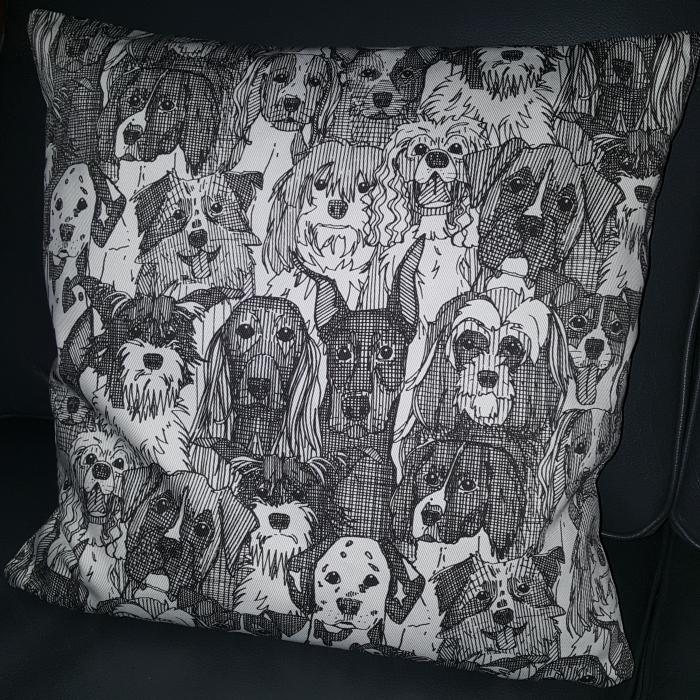 dogs aplenty handmade throw pillow