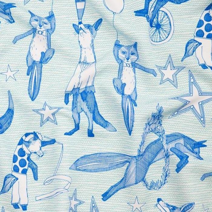 foxy circus blue nursery fabric