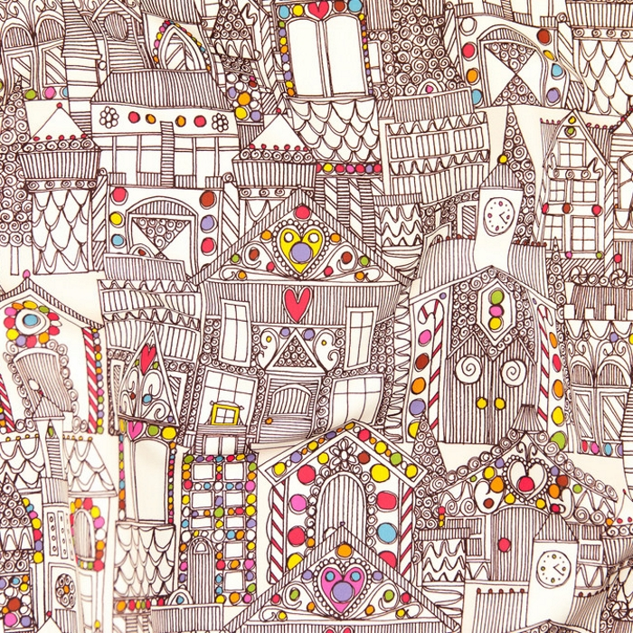 gingerbread town christmas fabric