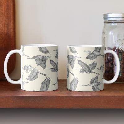 great blue herons pearl redbubble coffee mug sharon turner