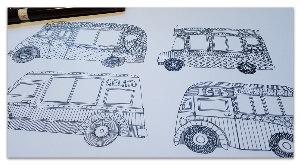 ice cream trucks work in progress drawing illustration sharon turner