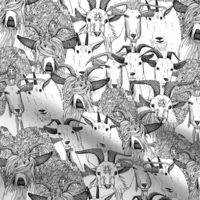 just goats black white farming animal pattern