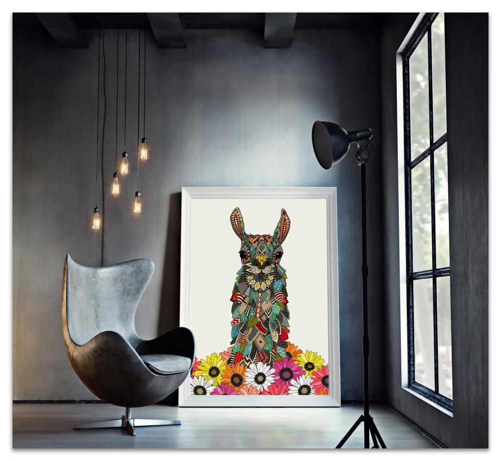 llama daisy love chalk art print sharon turner society6 lifestyle image