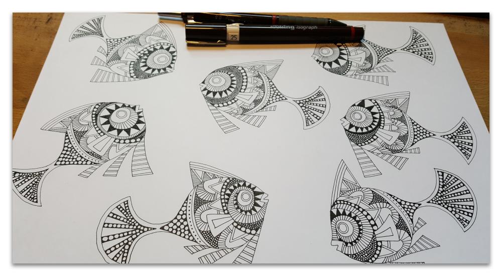 peaceful swimming art deco inspired fish work in progress illustration sharon turner