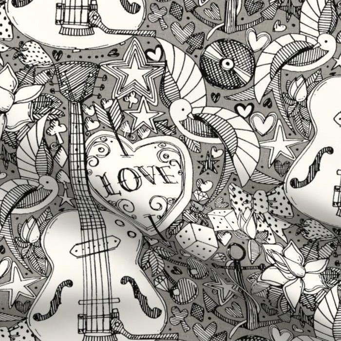 rockabilly doodle iron music love fabric