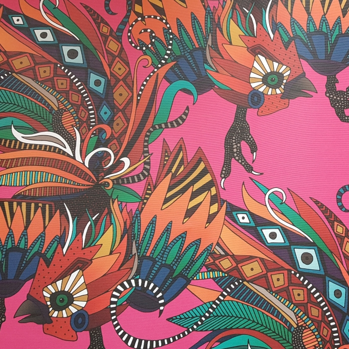 rooster ink pink woven wallpaper