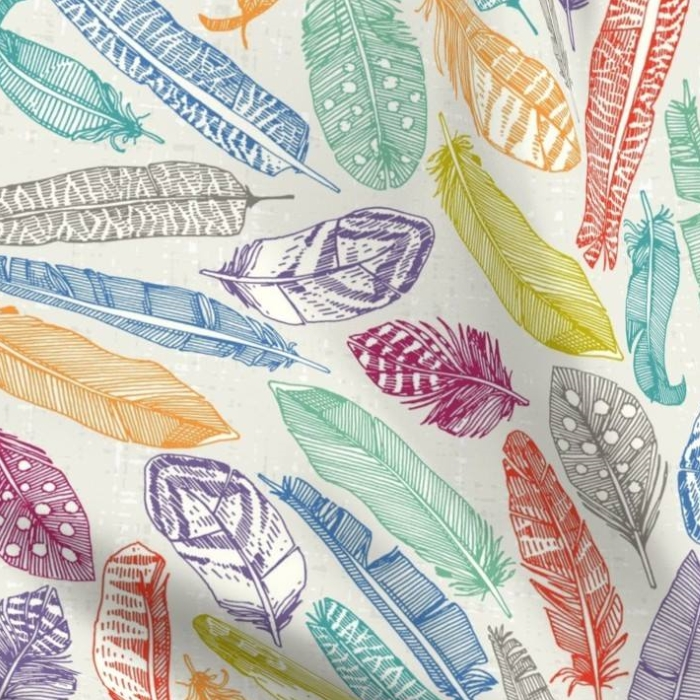 scattered feathers fabric