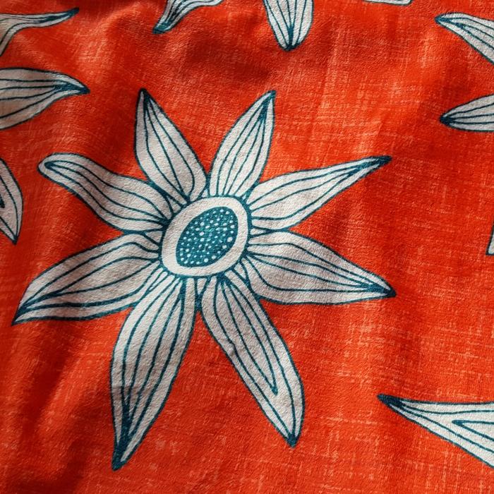 sema fire orange blue large scale boho floral fabric