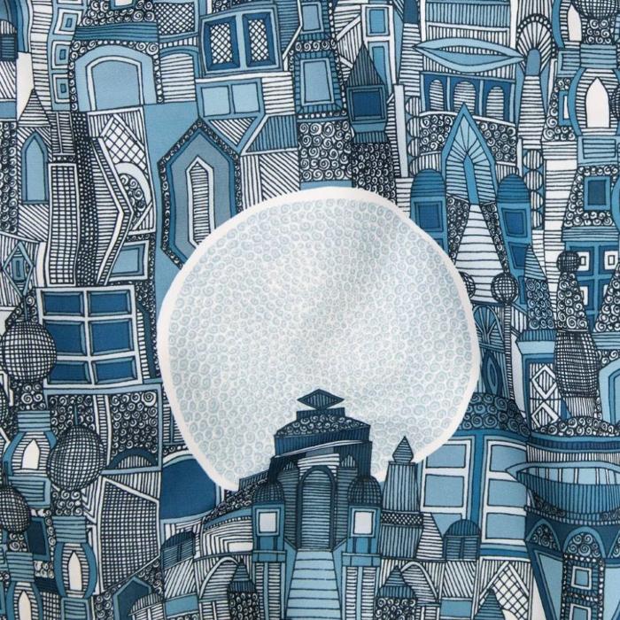 space city mono blue architectural fabric