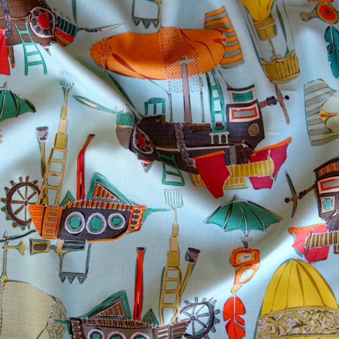 steampunk sky hot air balloon feather nursery fabric