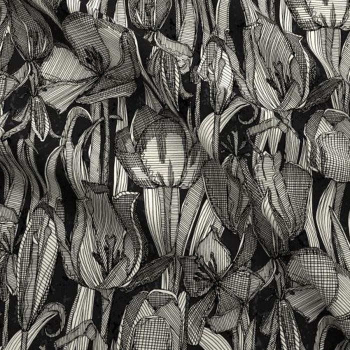 tulip decay black gothic botanical fabric
