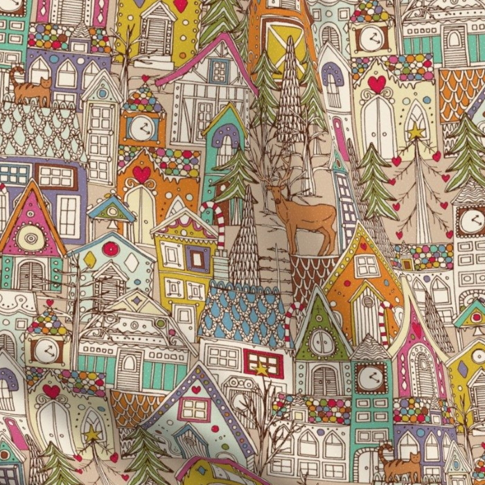 vintage gingerbread town christmas fabric