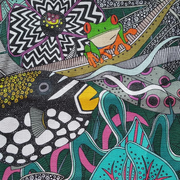 ASHA green Belgian Linen spoonflower sharon turner third place tropical surrealism 30072020 sharon turner