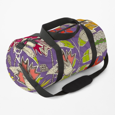 chintz pop violet redbubble duffle bag sharon turner