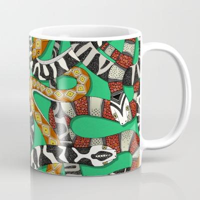 snakes green society6 coffee mug sharon turner