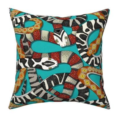 snakes turquoise knife edged throw pillow cushion spoonflower sharon turner