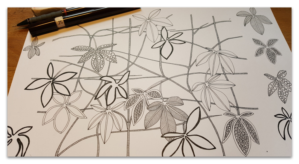 virginia creeper work in progress drawing illustration sharon turner