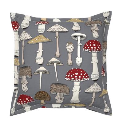 mushrooms iron flanged throw pillow spoonflower sharon turner