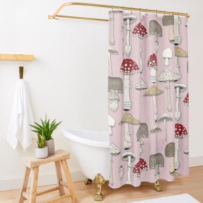 mushrooms pink redbubble shower curtain sharon turner