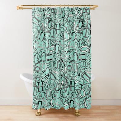 ABC scatter aqua blue mono redbubble shower curtain sharon turner