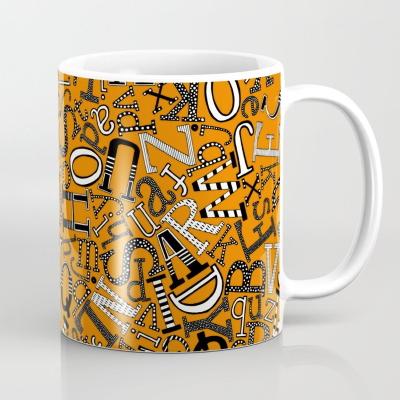 ABC scatter orange mono society6 coffee mug sharon turner