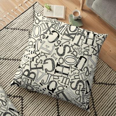 ABC scatter pearl mono redbubble floor pillow sharon turner