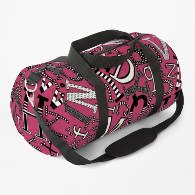 ABC scatter pink mono redbubble duffle bag sharon turner