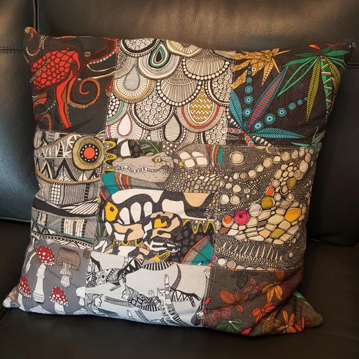 Belgian Linen portfolio patch cushion Sharon Turner spoonflower