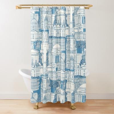 Washington DC toile blue redbubble shower curtain sharon turner