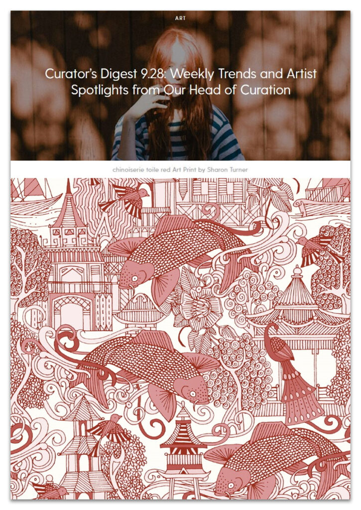 Society6 Curated blog feature 28092020 Sharon Turner chinoiserie toile red sharon turner
