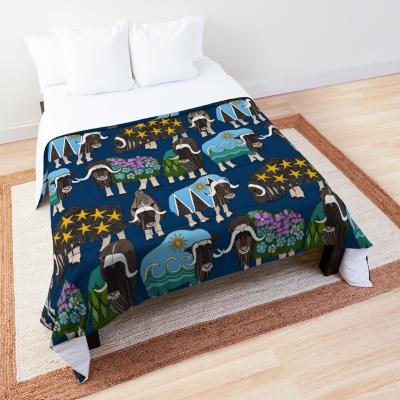 Alaskan musk ox blue redbubble comforter bed Sharon Turner