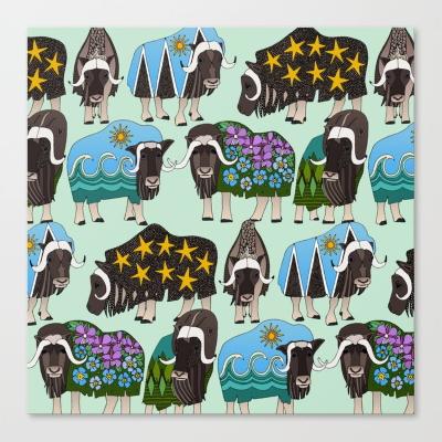 Alaskan musk ox mint Society6 canvas wall art Sharon Turner