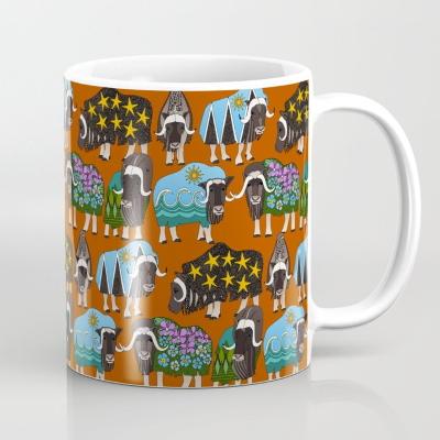 Alaskan musk ox rust Society6 coffee mug Sharon Turner