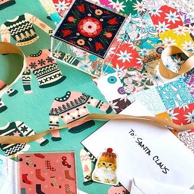 Society6 gift wrap promotion SARILMAK PATCHWORK Sharon Turner Christmas holidays