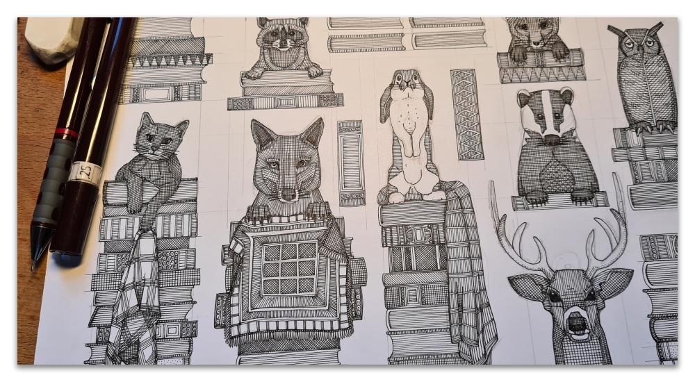 books and blankies work in progress illustration Sharon Turner