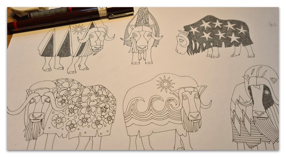 Alaskan musk ox work in progress illustration Sharon Turner