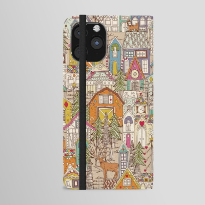 vintage gingerbread town iPhone wallet case society6 sharon turner