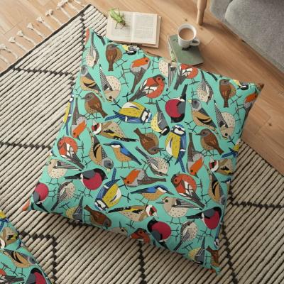 winter garden birds green redbubble floor pillow cushion sharon turner