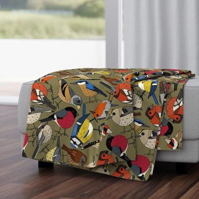 winetr garden birds olive spoonflower blanket sharon turner scrummy