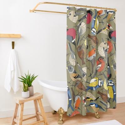 winter garden birds olive redbubble shower curtain sharon turner
