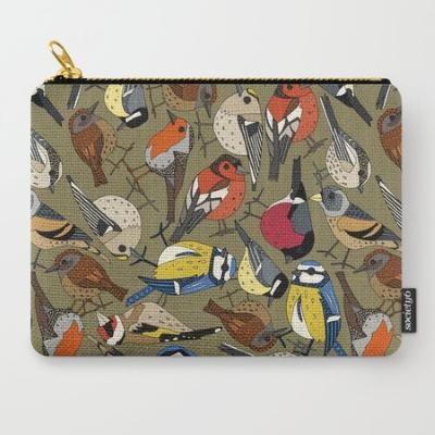winter garden birds olive society6 pouch sharon turner