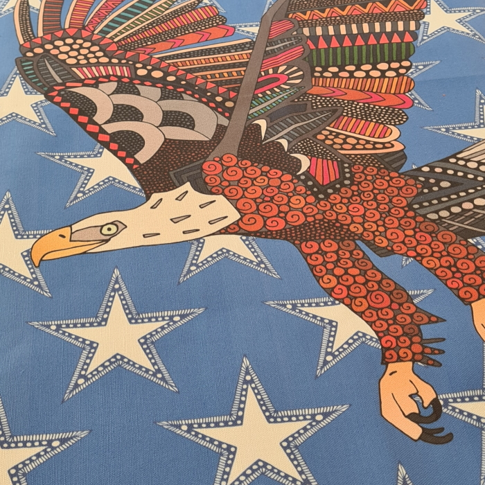 USA eagle blue tea towel close up sharon turner spoonflower